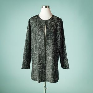 Chico's 2/L Black Silver Embroidered Open Jacket